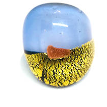 Murano Glass Millefiori Ring - Blue/gold leaf