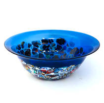 Murano Glass Bowl with Millefiori Beads 150mm diameter - blue