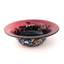 Murano Glass Bowl with Millefiori Beads 150mm diameter - burgundy