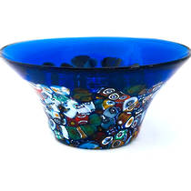 Murano Glass Bowl with Millefiori Beads (B) 130mm diameter - blue
