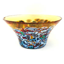 Murano Glass Bowl with Millefiori Beads (B) 130mm diameter - gold