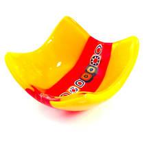 Murano Glass Dish with Millefiori Beads - Yellow