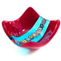 Murano Glass Dish with Millefiori Beads - Burgundy