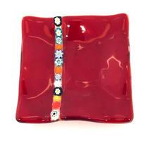 Murano glass dish - with millefiore stripe (Red)