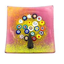 Murano glass dish - Millefiori Bead Tree (Burgundy)