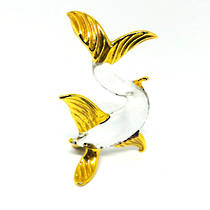 Murano Glass Ornament - Fish - Clear Glass/Gold Leaf