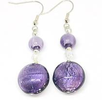 Murano Glass Bead Earrings - Serena  - White/Purple