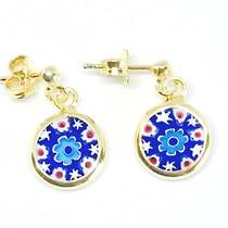 Murano Glass Millefiori Earrings (B)