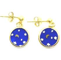 Murano Glass Millefiori Earrings (Night Sky)
