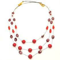 Murano Glass Bead Necklace - Lidia - Red/Black