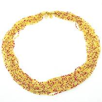 Murano Glass Bead Necklace Fenice 45 Strands - Gold/Red
