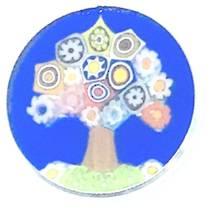 Murano Glass Pendant Millefiori 18mm - Tree of Life (Blue)