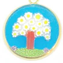 Murano Glass Pendant Millefiori 18mm - Tree of Life (Aqua)
