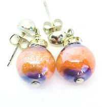Murano Glass Bead Earrings - Estate - Orange/Lilac