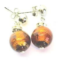 Murano Glass Bead Earrings - Estate - Bronze (gold foil)