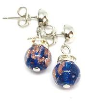 Murano Glass Bead Earrings - Fiorella Dark Blue (Rose Gold Foil)