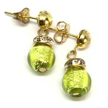 Murano Glass Bead Earrings - Fiorella Green (Silver Foil)