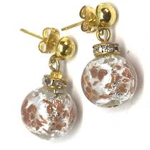 Murano Glass Bead Earrings - Estate - Silver/gold foil