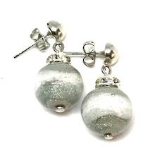 Murano Glass Bead Earrings - Estate - White/grey with silver foil