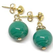 Murano Glass Bead Earrings - Estate - Green