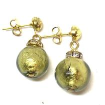 Murano Glass Bead Earrings - Estate - Blue with gold foil