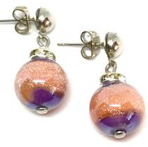 Murano Glass Bead Earrings - Estate - Peach/LIlac