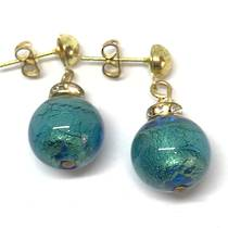 Murano Glass Bead Earrings - Estate - Green (gold foil)