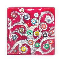 Murano glass dish - Red with Millefiori beads