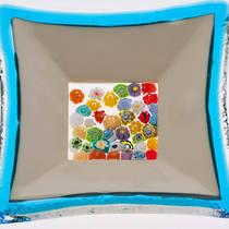 Murano glass dish - Millefiori Bead Centre (Aqua)