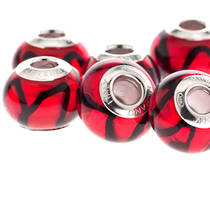 Charm Bracelet Bead Murano Glass - Red/Black