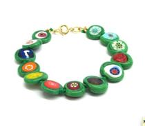 Murano Glass Bead Bracelet - Nerida (Flat bead) Green