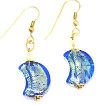 Murano Glass Bead Earrings - Simona Moon (Blue/Gold Leaf)