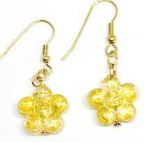 Murano Glass Bead Earrings - Simona Flowers (Gold)