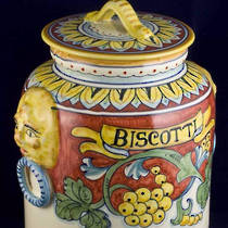 Hand-Painted Ceramics Corallo Biscotti Jar 230mm