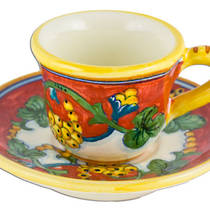 Hand-Painted Ceramics Corallo Espresso Coffee Cup and Saucer