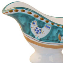 Hand-Painted Ceramics Gallinelle Sauce Boat Green
