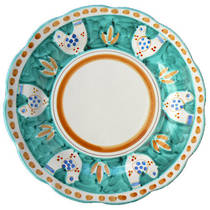 Hand-Painted Ceramics Gallinelle Dessert/Pasta Plate Green