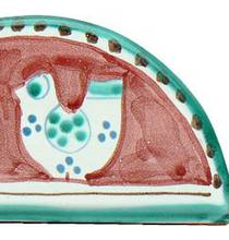 Hand-Painted Ceramics Gallinelle Napkin Holder Red