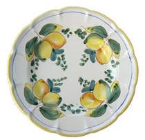 Hand-Painted Ceramics Limoni e Foglie Dessert/Pasta Plate