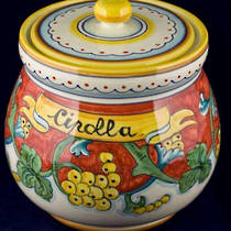 Hand-Painted Ceramics Corallo Onion Jar