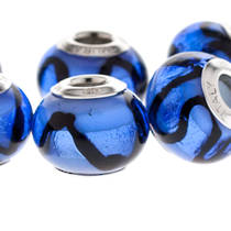 Charm Bracelet Bead - Murano Glass - Blue/Black