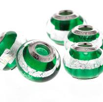 Charm Bracelet Bead Murano Glass - Green/Silver