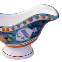 Hand-Painted Ceramics Pesce Sauce Boat Green