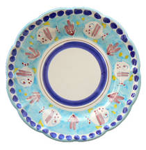 Hand-Painted Ceramics Pesce Side Plate Light Blue