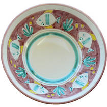 Hand-Painted Ceramics Pesce Serving Bowl Round 260mm Red