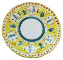 Hand-Painted Ceramics Pesce Dessert/Pasta Plate Yellow