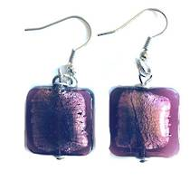 Murano Glass Bead Earrings - Lucia (square - dusky pink/silver foil)