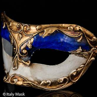 Venetian Masquerade Mask Colombina Stucco Blue