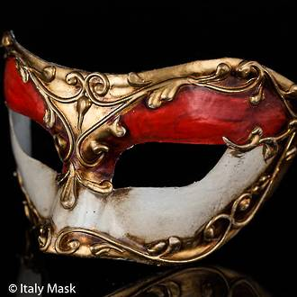 Venetian Masquerade Mask Colombina Stucco Red