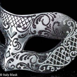 Venetian Mask Colombina Decor Silver Black